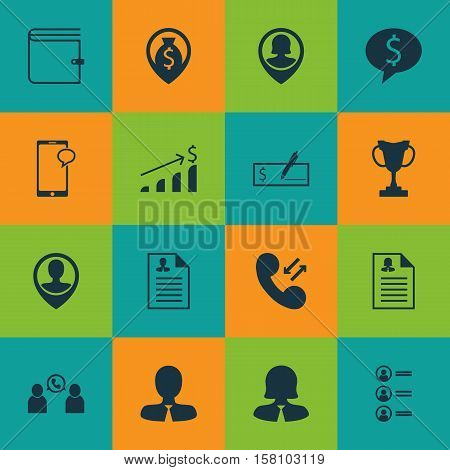 Set Of Human Resources Icons On Phone Conference, Bank Payment And Wallet Topics. Editable Vector Il