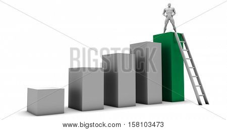 Man Climbing Up Ladder To the Top as a Business Concept 3d Illustration Render