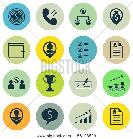 Set Of Human Resources Icons On Business Deal, Tree Structure And Tournament Topics. Editable Vector