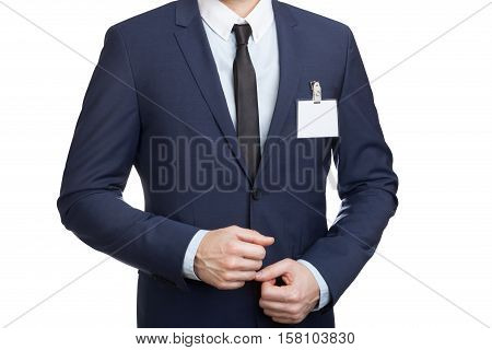 Businessman Wearing A Blank Id Tag Or Name Card At An Exhibition Or Conference