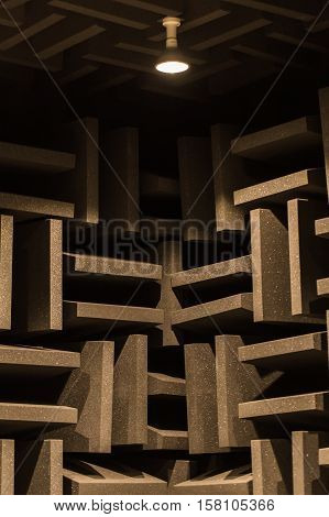 Background Of Studio Sound Dampening Acoustical Foam And Led Light. Music Romm. Soundproof Romm. Low