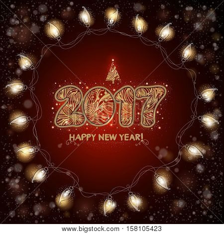 2017. Happy New Year background with  luminous electric garland. Christmas greeting card.  Hand drawn text. Vector illustration.