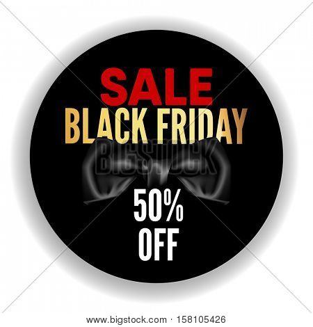 Black Friday sale black round tag, banner with black bow, advertising, vector illustration