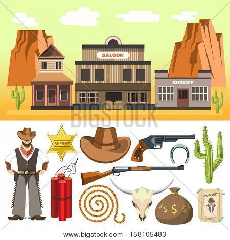 Cowboy icons set  and wild west scene with dynamite skull gun hat horseshoe. Flat isolated vector illustration