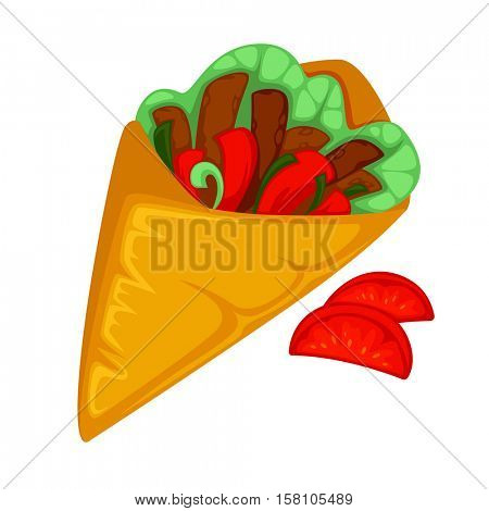 Burrito roll, shawarma or gyros pita. Fast food of mexican, turkish or arabian cuisine vegetable, salad and meat of a doner kebab in wrap. Icon in flat style. Vector illustration