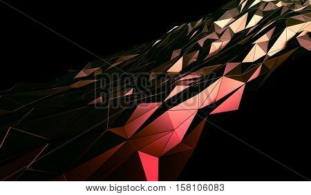 Abstract 3d rendering of triangulated surface. Contemporary background of futuristic polygonal shape. Distorted low poly backdrop with sharp lines.