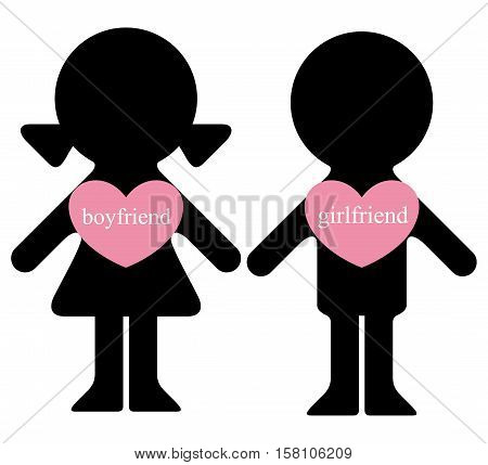 Vector boy and girl with lovers in hearts infographics element