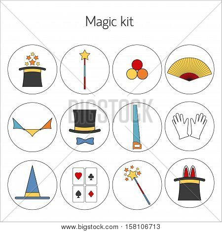 Set of magician Vector illustration Gloves hat magic wand and set of tools of magician on white background Thin line