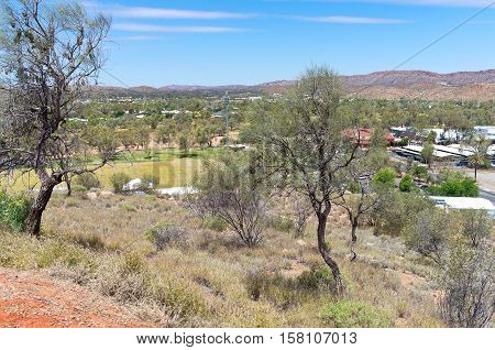 lookout from atop anzac hill in alice springs of northern territory australia