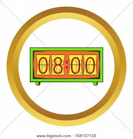 Analog flip clock vector icon in golden circle, cartoon style isolated on white background