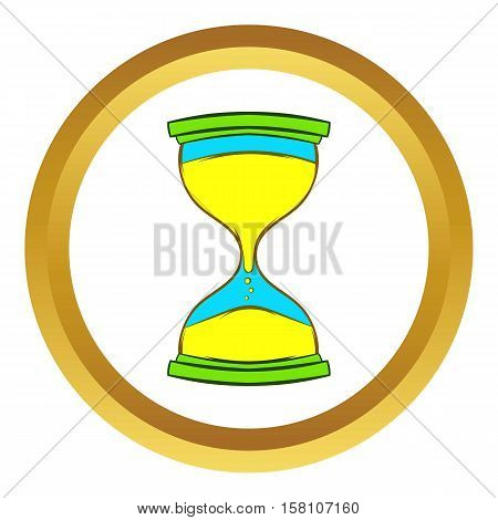 Hourglass vector icon in golden circle, cartoon style isolated on white background