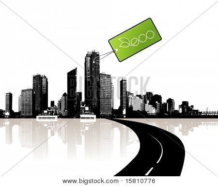 City with eco tag. Vector