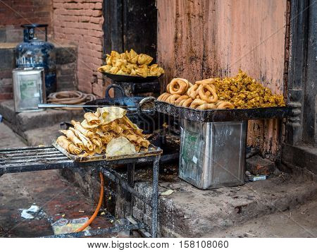 Nepali fried food for sale on the street