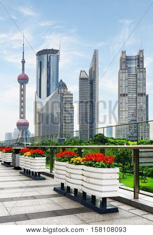 Skyscrapers And Outdoor Flower Pots In Downtown Of Shanghai
