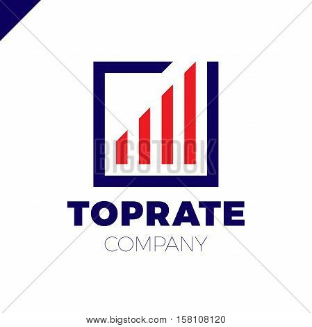 Top Graph Logo. Business Analytics Chart Symbol. Square Rate Logotype