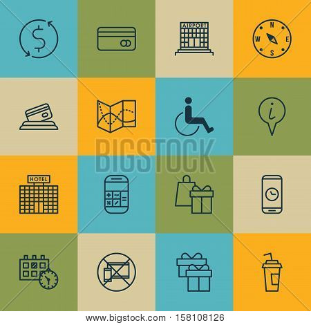 Set Of Traveling Icons On Plastic Card, Locate And Present Topics. Editable Vector Illustration. Inc