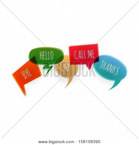Set text speech bubble icons glitch style white background. Banner text design vsh effect, glitch, noise people presentation communication, web banner. Vector illustration text cloud glitch.