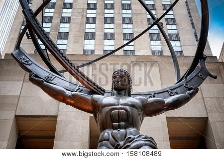 The Statue of Atlas holding the celestial spheres in New York City's Fifth Avenue
