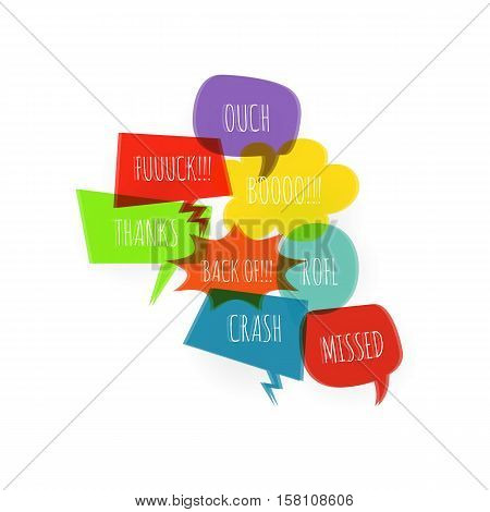 Set colored text speech bubble icons glitch style white background. Banner text design vsh effect, glitch, noise people presentation communication, web banner. Vector illustration text cloud glitch.