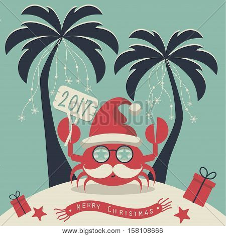 The cover design. Christmas on the island. Depicts two palm trees, a crab in Santa Claus hat, garlands of snowflakes, presents on the sand , starfish and scarf with the words merry christmas.