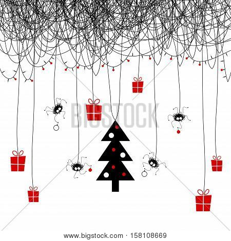 The cover design. Shows four the spider on the web decorating the Christmas tree for the holiday. On the web the garland of candles and red balls. Hanging gift boxes with gifts.