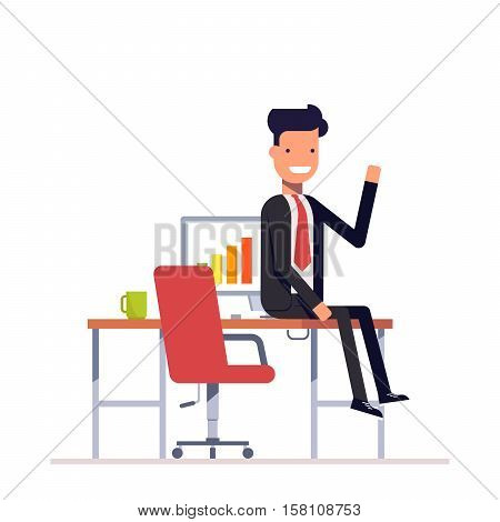 Lazy businessman or manager sitting at the table. Man in a business suit smiling and waving. Vector, illustration EPS10