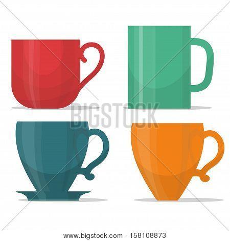 tee mug cup set, coffee time illustration