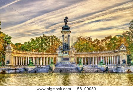 The Monument to King Alfonso XII in Buen Retiro Park - Madrid - Spain