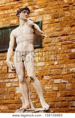 Famous statue of David - the biblical character who killed Goliaph Florence Italy