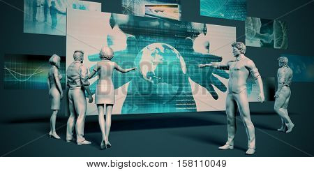 Disruptive Technology Meeting with Presentation Chart Graph 3d Illustration Render