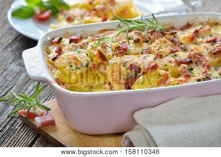 Hearty potato gratin with parmesan cheese, cream and delicious cured bacon from South Tyrol served fresh from the oven