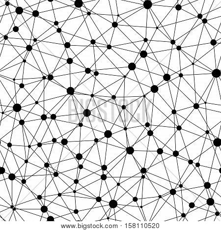 Vector monochrome seamless pattern, abstract geometric background with linear triangles & circles. Illustration of atomic structure, net. Design for tileable print, wallpaper, fabric, textile, web