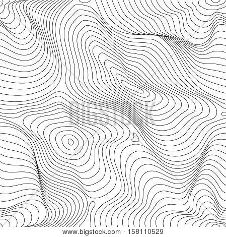 Vector monochrome seamless pattern, curved lines, black & white background. Abstract dynamical rippled surface, visual halftone 3D effect, illusion of movement, curvature. Design for tileable print