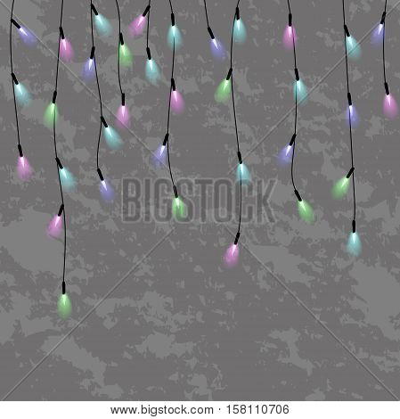 garlands, christmas decorations lights effects. glowing lights for xmas holiday greeting card design. christmas lights isolated realistic design elements.
