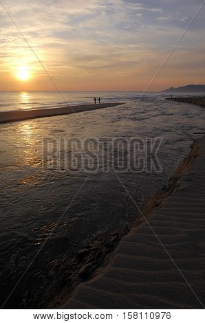 Sunrise at the mouth of the river Ter L'Estartit Costa Brava Girona Spain