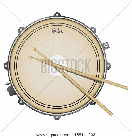 snare drum with sticks isolated on white