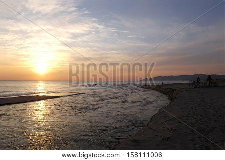 Sunrise at the mouth of the river Ter L'Estartit Costa BravaGironaSpain