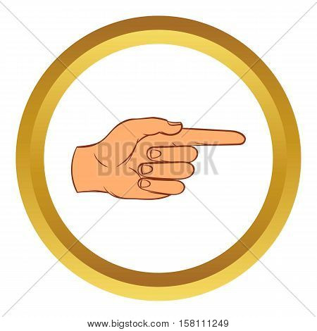 Pointing hand gesture vector icon in golden circle, cartoon style isolated on white background