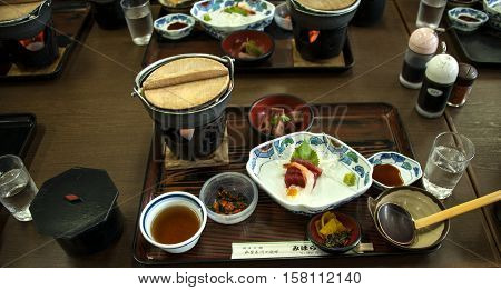Traditional meal in the japanese restaurant on Lake Ashi