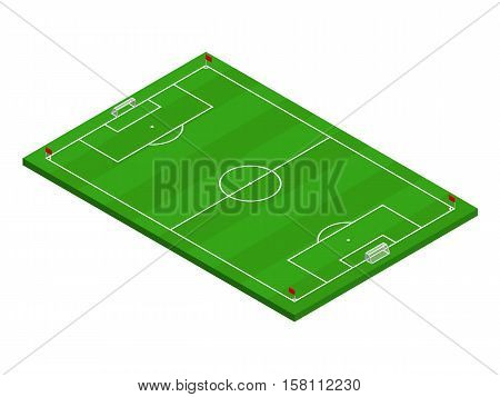 3D isometric football field with official correct proportions and layouts. Sport theme vector illustration, soccer sports field, stadium. Isolated editable design element for infographics, banner