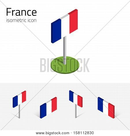 France flag, vector set of isometric flat icons, 3D style, different views. 100% editable design elements for banner, website, presentation, infographic, poster, card, collage. Eps 10