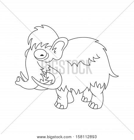 Contour vector image of a cute wooly mammoth.