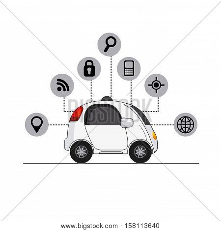 autonomous car vehicle with navigation icons around over white background. ecology,  smart and techonology concept. vector illustration