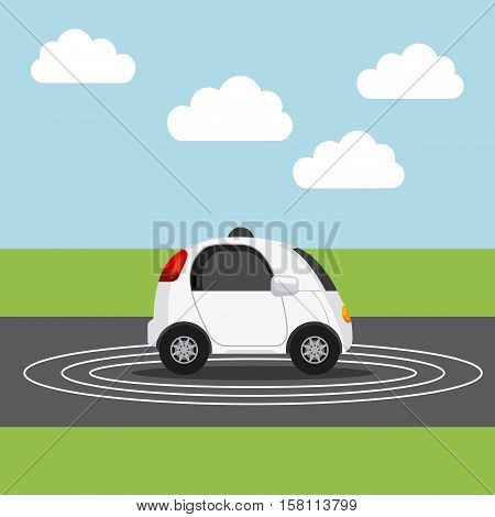 autonomous car vehicle over street. ecology,  smart and techonology concept. landscape background. vector illustration