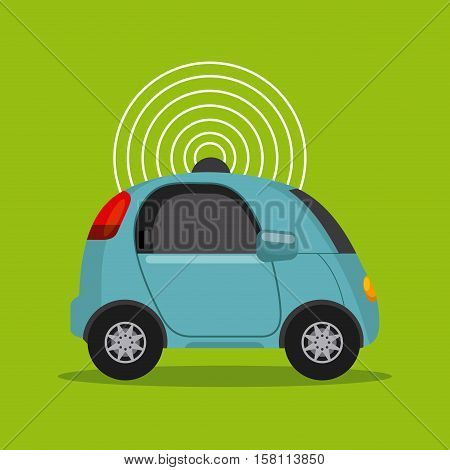 autonomous car vehicle with wireless waves over green background. ecology,  smart and techonology concept. vector illustration
