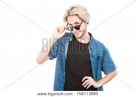Hipster Man With Sunglasses Studio Shot
