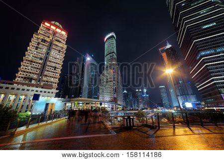 Modern View Of Skyscrapers On Century Avenue At Night, Shanghai