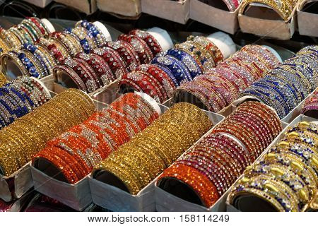 KOLKATA, INDIA - FEBRUARY 10: Traditional Indian bangles with different colors and patterns, Pushkar, India on February 10, 2016.