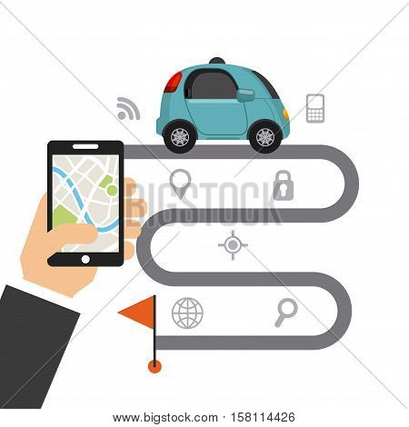 autonomous car with race circuit and red flag and hand holding a smartphone with a map. smart and techonology concept. vector illustration