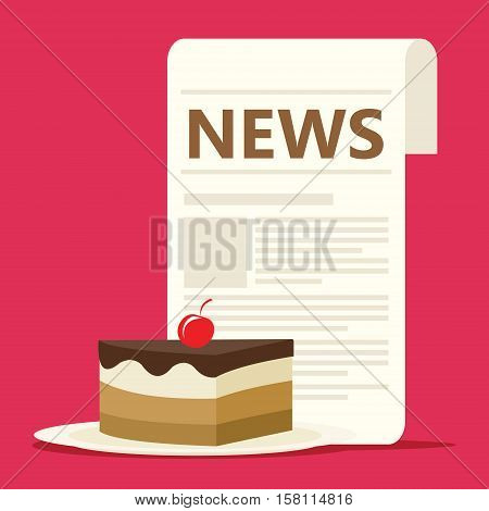 culinary news with newspaper vector illustration concept